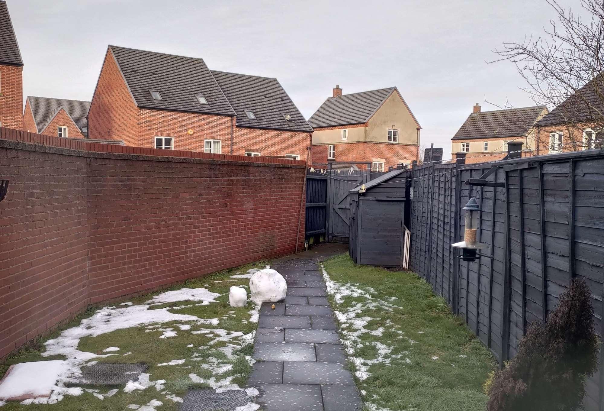 Birmingham house garden in winter