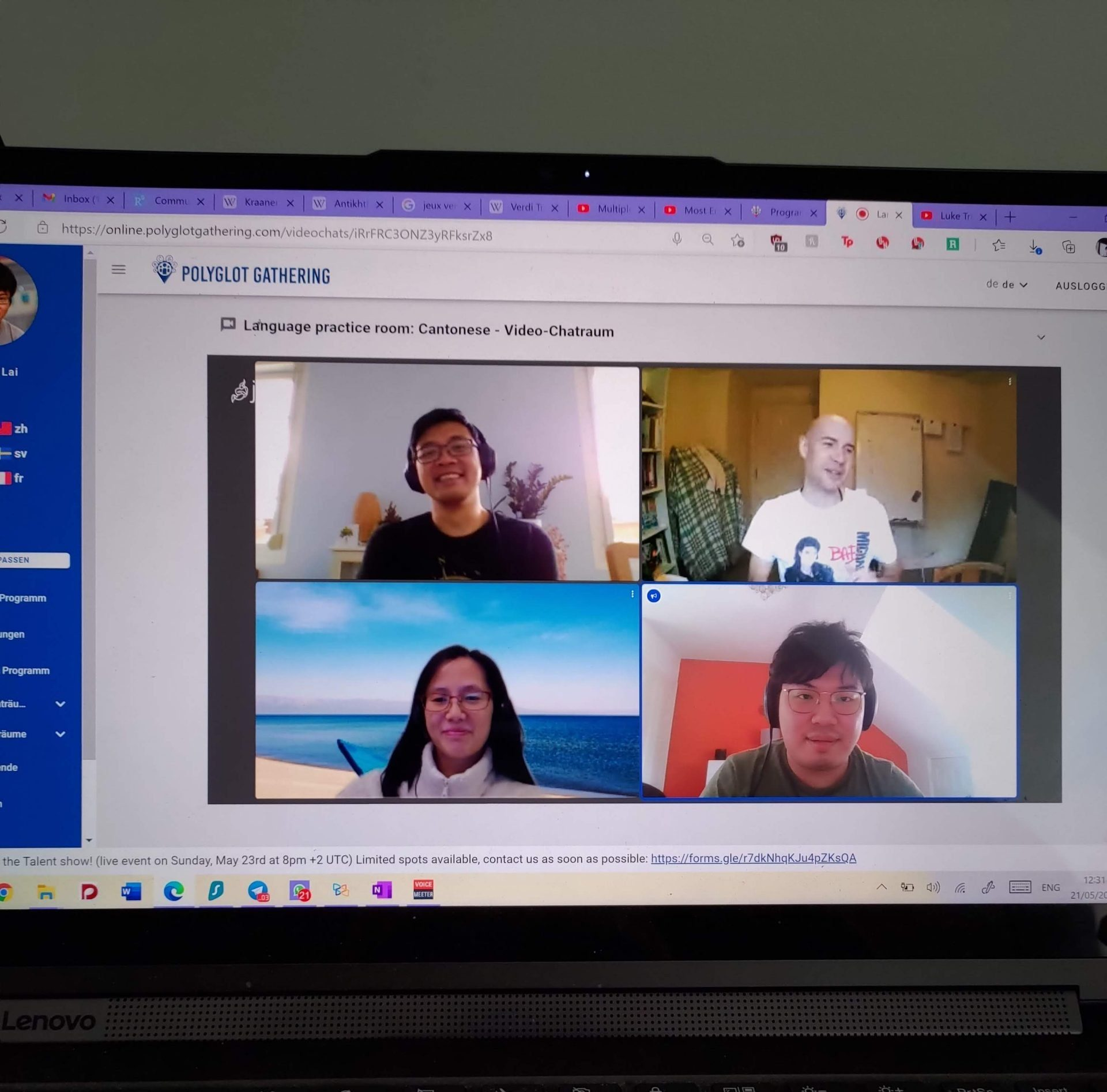 polyglot gathering 2021 Cantonese language practice room